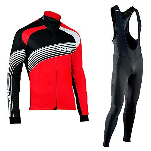 Herren Fahrradbekleidung Set Radfahren Langarm Atmungsaktives Trikot Set + Lange Hose Bike Shirt Fahrrad Strumpfhose Kleidung mit 19D Gepolstert