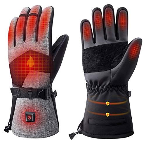 YXIU Beheizte Handschuhe für Männer und Frauen, Winterhandschuhe für Winterski und Eislaufen, 7.4V 2500Mah Elektrische wiederaufladbare Batterien Handschuhe, funktioniert bis zu 2-7 Stunden (Grau, L)