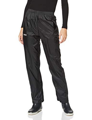 Regatta Womens Pack-It Leichte, wasserdichte und atmungsaktive Überziehhose Jacke, Black, Large