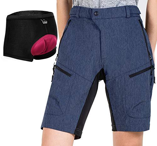 Cycorld MTB Shorts Damen MTB Hose, Atmungsaktiv Radhose Damen Outdoor Bike Shorts mit Verstellbaren Klettverschlüssen (NavyBlue with Pad, XL)