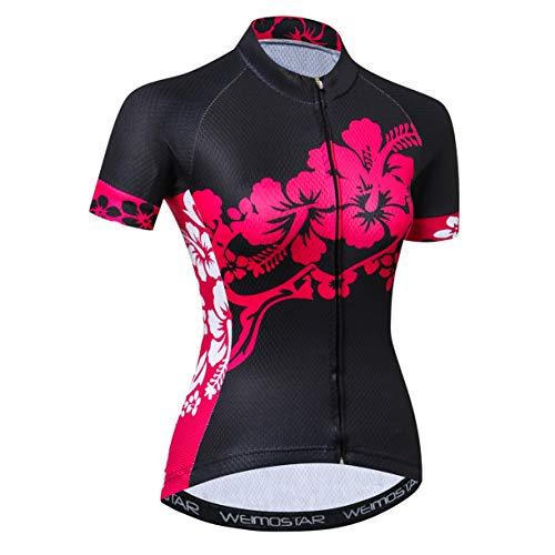 Radtrikot Frauen Fahrrad Trikot MTB Trikot Tops für Frau Damen Radtrikot Pro Team Mountain Road Trikot Kurzarm Renn Hemden atmungsaktiv Sommer Kleidung schwarz Größe XL