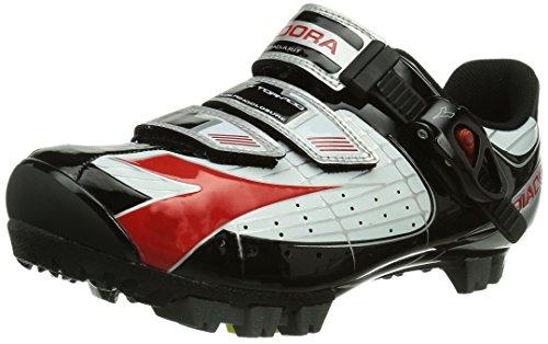 Diadora X TORNADO, Unisex-Erwachsene Radsportschuhe – Mountainbike, Weiß (weiß/schwarz/rot 1470), 45 EU