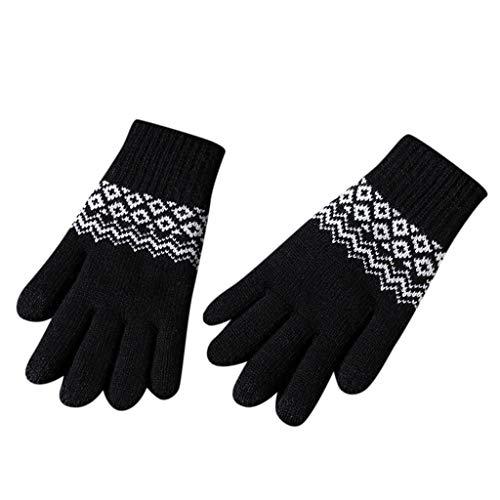 YXIU Unisex Touchscreen Handschuhe Warme Winterhandschuhe Strickhandschuhe Warm Plus Velvet Outdoor Gloves (Schwarz)