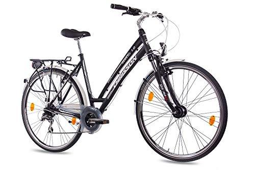 CHRISSON 28 Zoll Damen City Bike – Sereto 1.0 schwarz – Damenfahrrad mit 24 Gang Shimano Acera Kettenschaltung und Nabendynamo, Trekkingfahrrad mit Suntour Federgabel