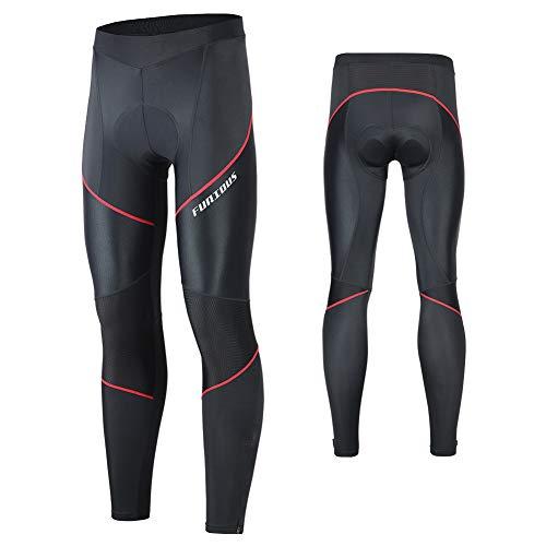MEETWEE Herren Radlerhose Lange Fahrradhose, Kompression Radhose Leggings Radsport Hose für Männer Elastische Atmungsaktive 3D Schwamm Sitzpolster (Rot-A, L)