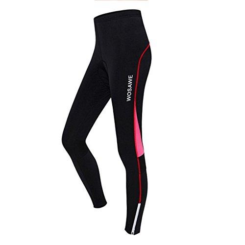 GWELL Damen Lang Radhose mit Sitzpolster Gepolstert Radlerhose Atmungsaktiv Fahrradkleidung Sporthose rot XL