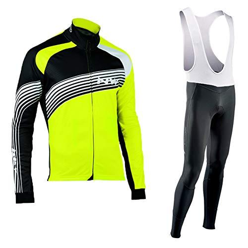 Sock Herren Radtrikot Set Fahrradbekleidung MTB Radjacke Langarm + 3D gepolsterte atmungsaktive Hose Sportswear