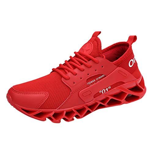 Julhold Herren Große Fitness-Sneaker Hochelastische Schnür-Laufschuhe rutschfeste Freizeitschuhe Outdoor Schuhe Größe 39-47(Rot,45)