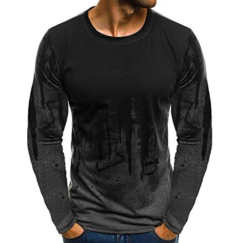 Xmiral Tops Sweatshirt Herren Slim Fit Short Sleeve/Langarm-Muskel-beiläufige Hemden(M,Lange Ärmel-Grau)