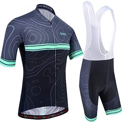 BXIO Herren Radtrikots, Kurze Ärmel und 5D Gel gepolsterte Shorts Atmungsaktive, schnell trocknende Radsportanzüge 205 (Black(205,bib Shorts), XL)