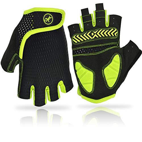 REETEE Fahrradhandschuhe Halbfinger Radsport Handschuhe Atmungsaktiv Anti-Rutsch Radhandschuhe Herren Damen Sport Handschuhe für Radfahren, Wandern und Outdoor Sportarten (Gelb, XL)