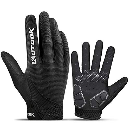 KUTOOK Fahrradhandschuhe Herren Mit Gel Vollfinger MTB Handschuhe Fahrrad Bekleidung Schwarz L