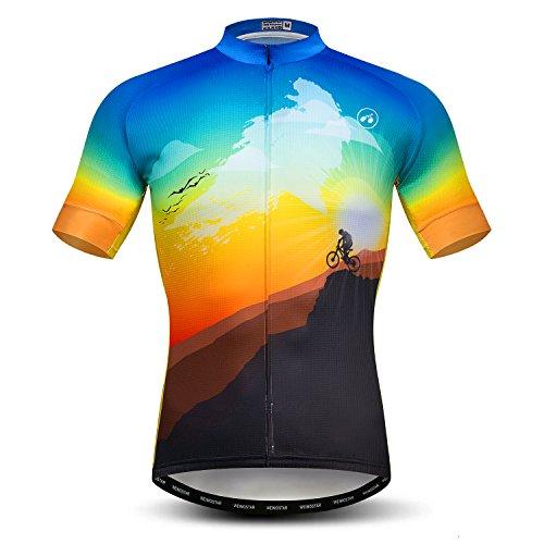 Weimostar Radtrikot Herren MTB Trikot Reißverschluss Kurzarm Biker Tops Mountain Road Bekleidung Fahrrad Shirts Jacke Sommer Pro Team Rennrad Trikot für Herren Atmungsaktiv Größe XL