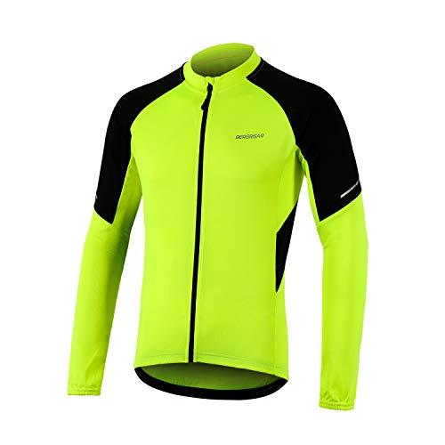 BERGRISAR Fahrradtrikot Herren Langarm Radtrikot Reflektierend Fahrrad Shirt Reißverschluss Taschen BG012 – Gelb – Groß