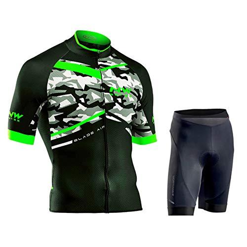 Herren Radtrikot Set Kurzarm Trikot + Radlerhose mit Sitzpolster aus Atmungsaktiv und Schnell Trockend Stoff für Fahrrad Rennrad MTB