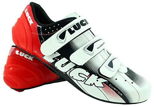 LUCK EVO Red Fahrradschuhe für den Straßenverkehr, mit Carbon-Sohle, sehr steif und leicht und mit dreifachem Klettverschluss. (44 EU)