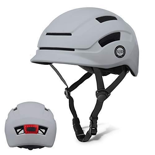 XJD Erwachsene Fahrradhelm Unisex mit LED Rücklicht leichte verstellbare Multisporthelm für Skateboard Scooter Radfahren ect EPS-Innenschale CE- Zertifizierter (Grau, M)