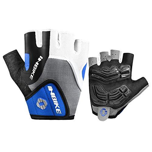 INBIKE Fahrradhandschuhe Handschuhe Fingerlos Herren Radhandschuhe halber Finger Mit Gel Atmungsaktiv Elastische für Radfahren Radsport Laufen Outdoor-Aktivitäten(Blau,L)