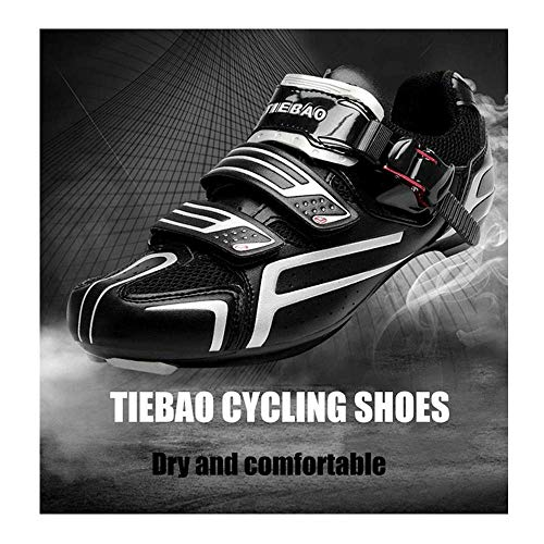 HAOLIN Fahrradschuhe Road Sapatilha Ciclismo Selbstsperrende Atmungsaktive Road Sneakers Für Männer Frauen,Black-44