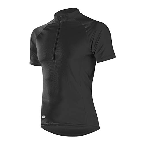 INBIKE Radtrikot Herren Damen Kurzarm Ärmellos Shirt Jersey Fahrradtrikot Aus Elastischem Atmungsaktivem Schnell Trockendem Stoff(Schwarz,L)