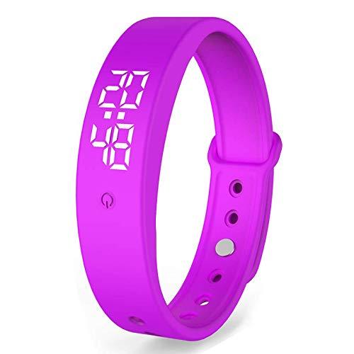 2020 Neues V9 Körpertemperaturthermometer, Smart Band, Fitness Tracker, Sportarmband und täglicher Gebrauch. Stoppuhr und Alarm. (violett)