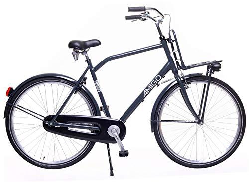 Amigo Forest – Cityräder für Herren – Herrenfahrrad 28 Zoll – Geeignet ab 175-185 cm – Citybike mit Handbremse, Rücktritt, Gepäckträger Vorne, Beleuchtung und fahrradständer – Grau