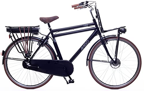 Amigo E-Pulse – Elektrofahrrad für Herren – E-Bike 28 Zoll – Herrenfahrrad mit Shimano 3-Gang – Nabenschaltung – 250W und 13Ah, 36V Li-ion-Akku – Schwarz