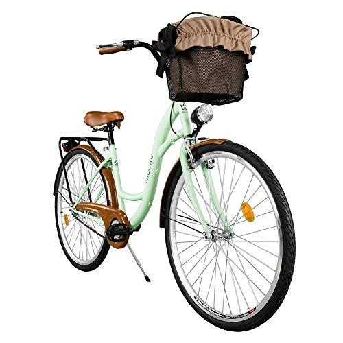 Milord. Komfort Fahrrad mit Rückenträger, Hollandrad, Damenfahrrad, 1-Gang, Mint Grün, 26 Zoll