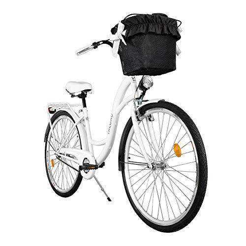 Milord. Komfort Fahrrad mit Korb, Hollandrad, Damenfahrrad, 3-Gang, Weiß, 28 Zoll