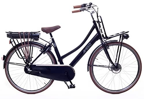 Amigo E-Pulse – Elektrofahrrad für Damen – E-Bike 28 Zoll – Damenfahrrad mit Shimano 3-Gang – Nabenschaltung – 250W und 13Ah, 36V Li-ion-Akku – Schwarz