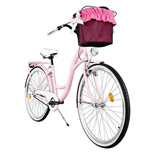 Milord. Komfort Fahrrad mit Korb, Hollandrad, Damenfahrrad, 1-Gang, Rosa, 28 Zoll