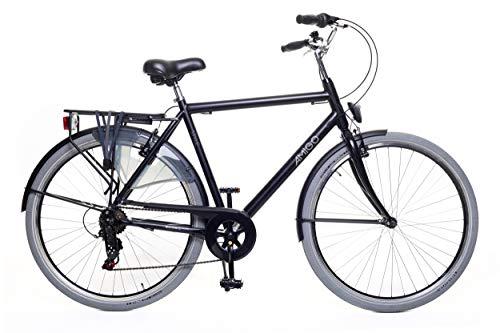 Amigo Style – Cityräder für Herren – Herrenfahrrad 28 Zoll – Geeignet ab 170-175 cm – Shimano 6 Gang-Schaltung – Citybike mit Handbremse, Beleuchtung und fahrradständer – Schwarz/Grau