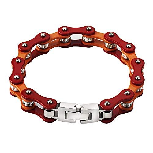 Herren Fahrrad Edelstahl Rot Orange Biker Armbänder Kette Schmuck Geschenk 21Cm Rot Und Orange