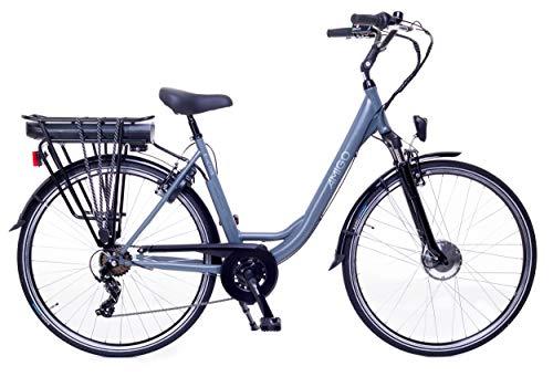Amigo E-Active – Elektrofahrrad für Damen – E-Bike 28 Zoll – Damenfahrrad mit Shimano 7-Gang- 250W und 13Ah, 36V Li-ion-Akku – Grau
