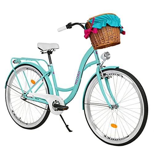 Milord. 26 Zoll 3-Gang Aqua blau Komfort Fahrrad mit Korb und Rückenträger, Hollandrad, Damenfahrrad, Citybike, Cityrad, Retro, Vintage