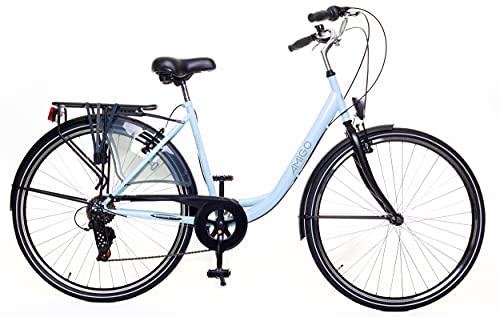 Amigo Style – Cityräder für Damen – Damenfahrrad 28 Zoll – Geeignet ab 170-175 cm – Shimano 6 Gang-Schaltung – Citybike mit Handbremse, Beleuchtung und fahrradständer – Blau