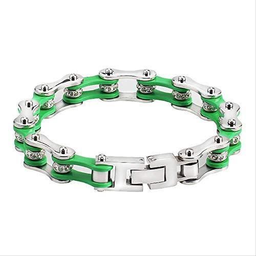 nobrand Herren Fahrrad Armbänder Edelstahl Kette Grün Silber Farbe Fahrrad Armband 23Cm