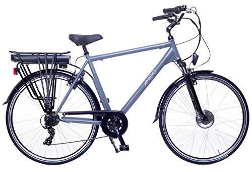 Amigo E-Active – Elektrofahrrad für Herren – E-Bike 28 Zoll – Herrenfahrrad mit Shimano 7-Gang- 250W und 13Ah, 36V Li-ion-Akku – Grau