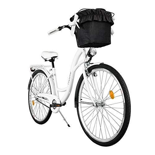 Milord. Komfort Fahrrad mit Rückenträger, Hollandrad, Damenfahrrad, 1-Gang, Weiß, 26 Zoll