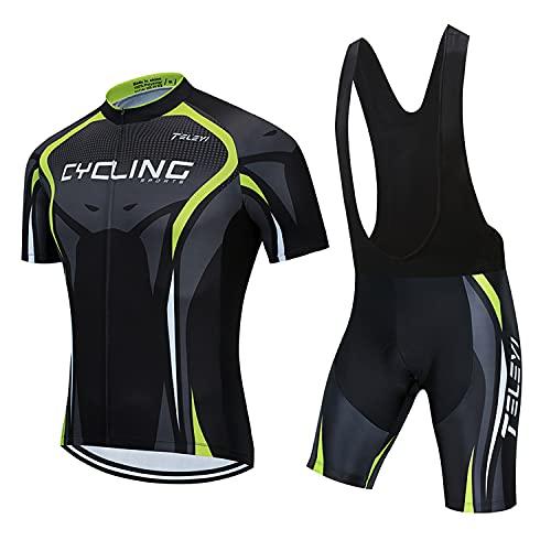 RMane Herren Fahrrad Anzüge Kurz Atmungsaktive Radtrikot Fahrradbekleidung Set Schnelltrocknend Kurzarm Shirt + Radhose/Trägerhose mit Sitzpolster für Radsport S -2XL (Trikot+Trägerhose, XL)