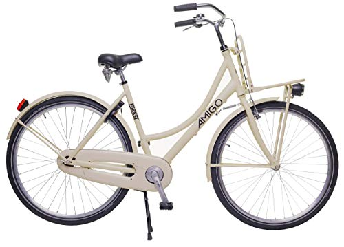 Amigo Forest – Cityräder für Damen – Damenfahrrad 28 Zoll – Geeignet ab 170-180 cm – Citybike mit Handbremse, Rücktritt, Gepäckträger Vorne, Beleuchtung und fahrradständer – Beige
