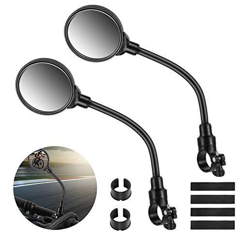 tEEZErshop 2 STÜCK Fahrradspiegel für Lenker 22-32mm Fahrrad Weitwinkel Rückspiegel Sichere Spiegel 3D,360 ° Verstellbar und Drehbar Fahrrad Spiegel für Mountainbike Rennrad E-Bike Mofa