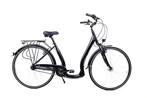28 Zoll City Bike Damen Fahrrad 7 Gang Tiefeinsteig Rücktritt LED schwarz matt