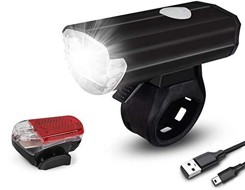 Sanfant Fahrradlicht – Fahrradlicht Set, Fahrradlicht USB Aufladbar, StVZO Zulassung Fahrradbeleuchtung, 2 Licht-Modi Frontlicht und Rücklicht Set