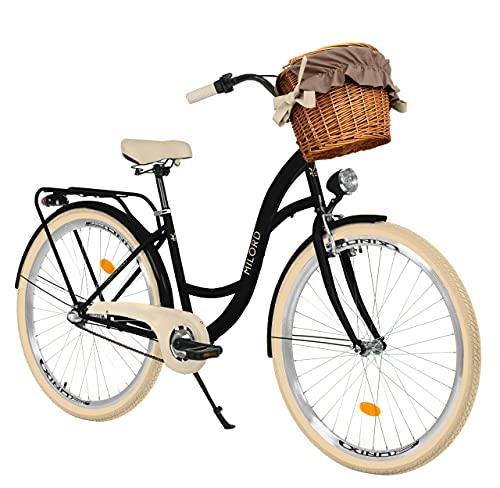 Milord. 26 Zoll 3-Gang, schwarz und Creme, Komfort Fahrrad mit Korb und Rückenträger, Hollandrad, Damenfahrrad, Citybike, Cityrad, Retro, Vintage
