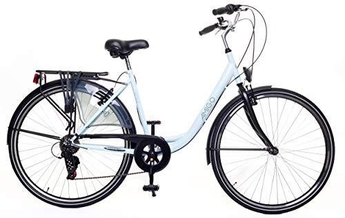 Amigo Style – Cityräder für Damen – Damenfahrrad 28 Zoll – Geeignet ab 180-185 cm – Shimano 6 Gang-Schaltung – Citybike mit Handbremse, Beleuchtung und fahrradständer – Blau