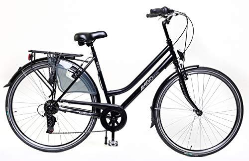 Amigo Moves – Cityräder für Damen – Damenfahrrad 28 Zoll – Geeignet ab 170-175 cm – Shimano 6 Gang-Schaltung – Citybike mit Handbremse, Beleuchtung und fahrradständer – Schwarz