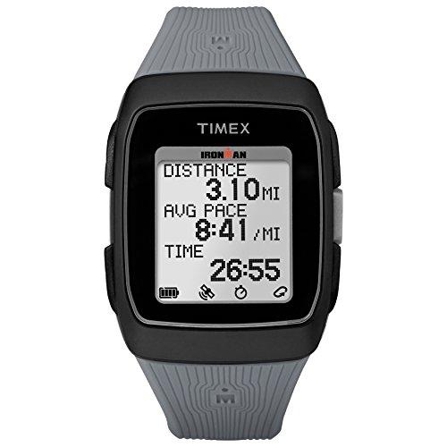 Timex Unisex TW5M11800 Ironman GPS schwarz/grau Silikonarmband Armbanduhr