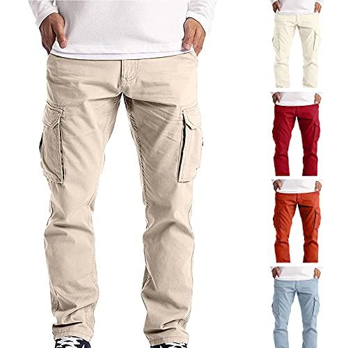 JIAYOUA Herren Sommer Lange Hosen Cargohose Sport Jogging Atmungsaktive Hose Fitness Slim Fit Einfarbige Sporthose mit Mehreren Taschen Outdoorhose Trekkinghose Freizeithose Wanderhose